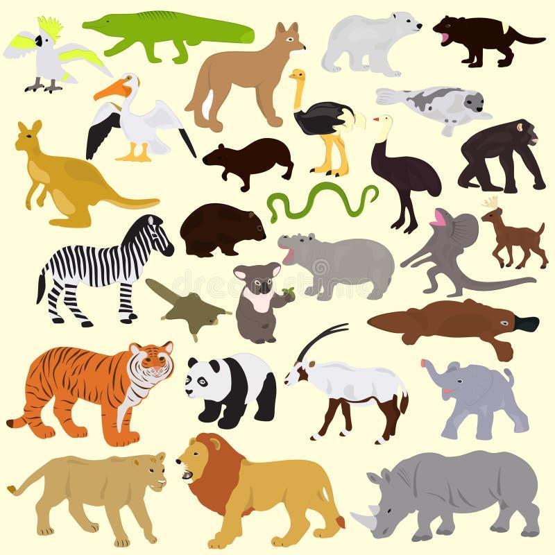 Собрание различных животных на светлой предпосылке иллюстрация вектора
