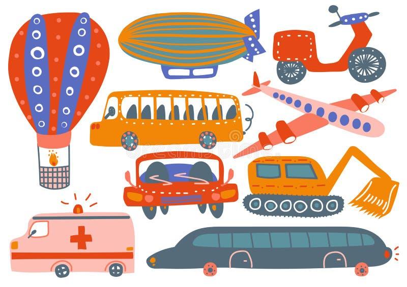 Собрание различных транспортных средств, горячий воздушный шар, дирижабль, самолет, автомобиль машины скорой помощи, экскаватор,  иллюстрация штока