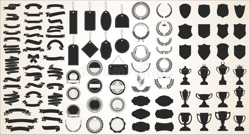 Собрание различных черных экранов и трофеев лавров бирок лент бесплатная иллюстрация