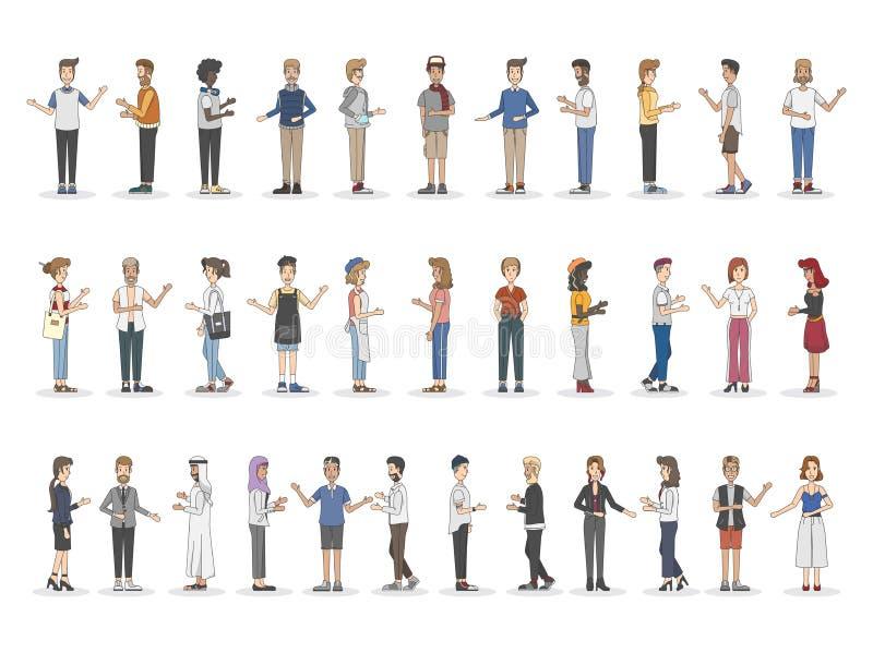 Собрание разнообразных проиллюстрированных людей иллюстрация вектора