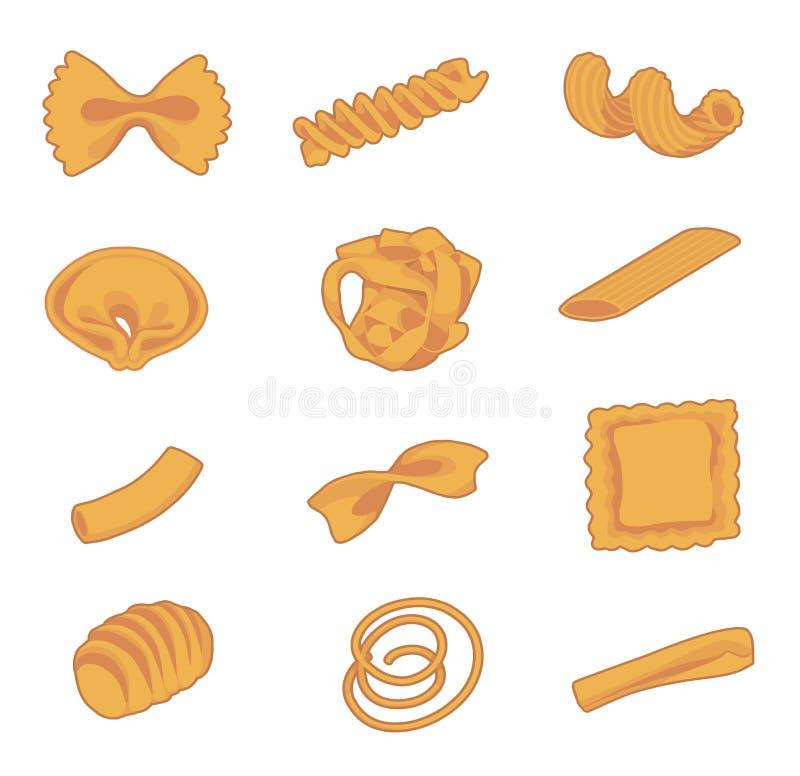 Собрание разных видов традиционных итальянских макаронных изделий как fusilli, macaron, tortellini или спагетти иллюстрация штока