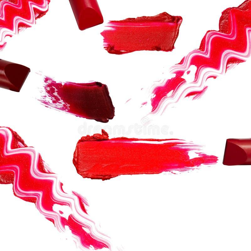 Собрание различных губных помад на белой предпосылке Каждое одно снято отдельно стоковые изображения