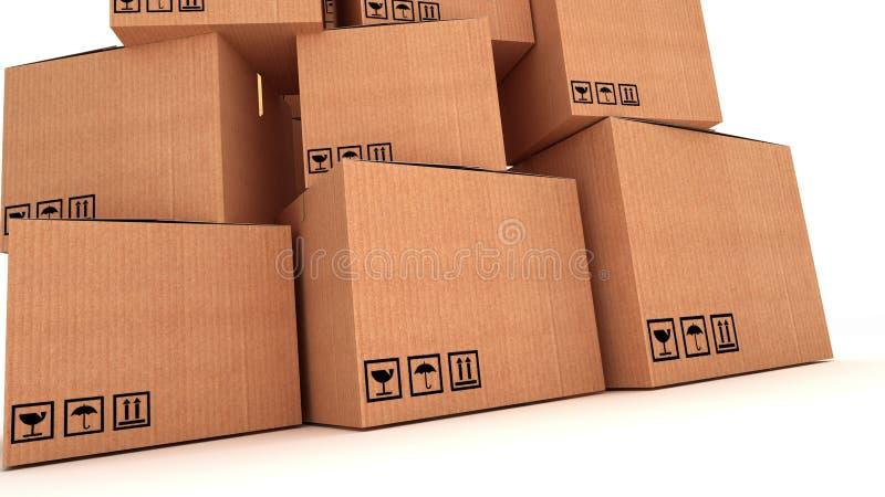 Собрание различных картонных коробок на белой предпосылке иллюстрация штока