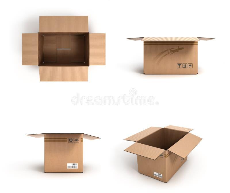 Собрание различных открытых картонных коробок на белой предпосылке иллюстрация вектора