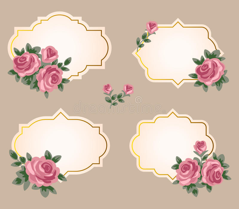 Собрание рамок вектора с розами в ретро стиле иллюстрация вектора