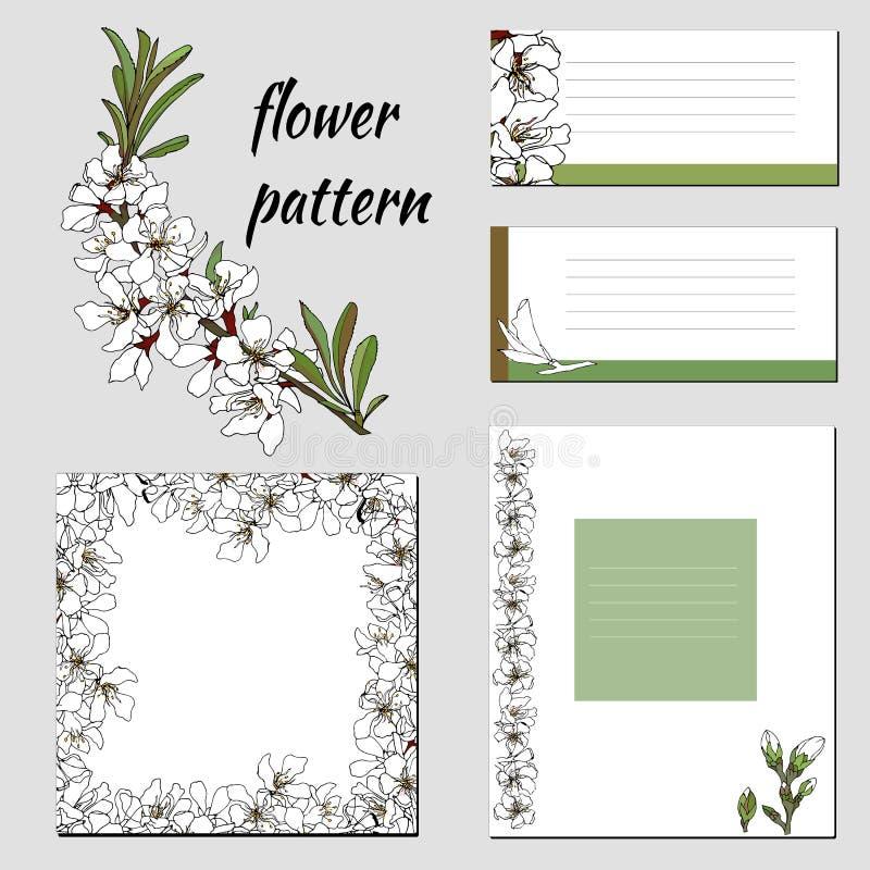 Собрание рамок и приглашений вектора с белыми цветками иллюстрация вектора