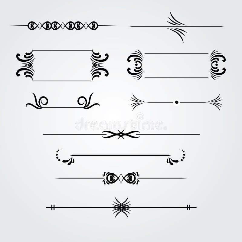 Собрание рамок нарисованных рукой винтажных для украшения текста иллюстрация штока