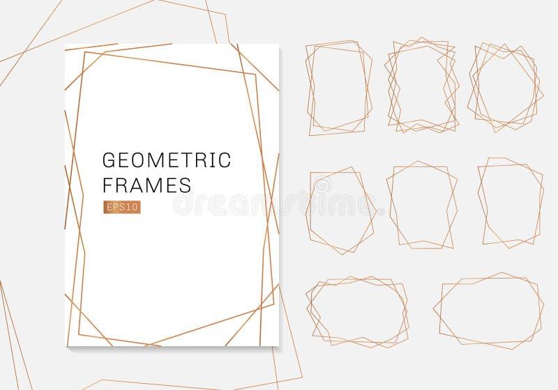 Собрание рамок полиэдрона золота геометрическое роскошный стиль стиля Арт Деко шаблонов для приглашения свадьбы иллюстрация штока