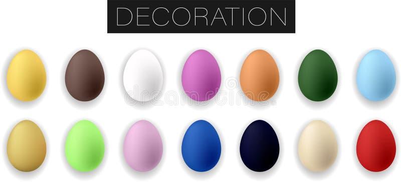 Собрание реалистических красочных пасхальных яя r иллюстрация вектора