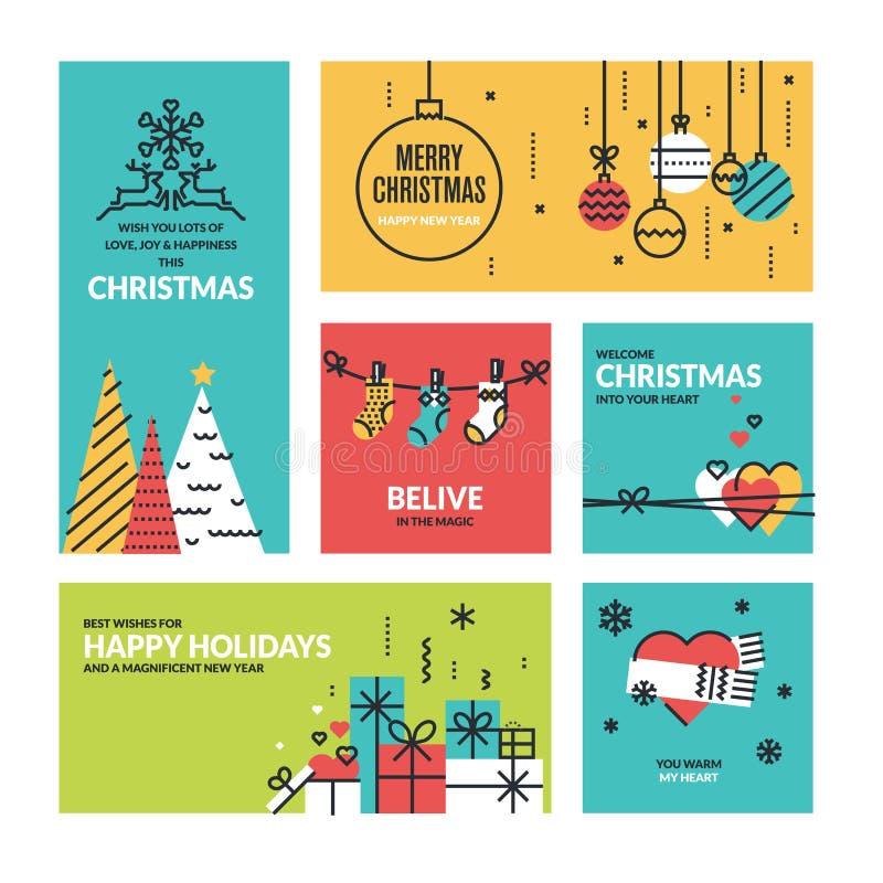 Собрание рождества и Нового Года иллюстрация штока