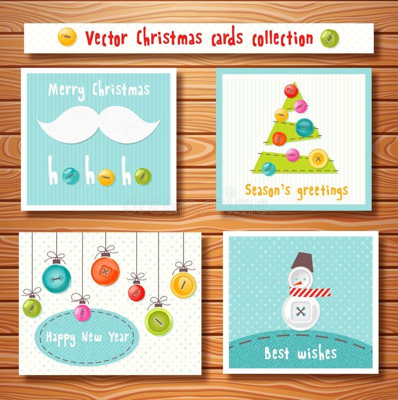 Собрание рождественских открыток с милыми кнопками бесплатная иллюстрация