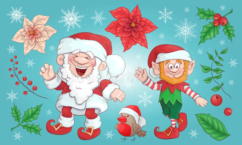Собрание Санта Клауса комплект рождества веселый Вектор, иллюстрация иллюстрация штока