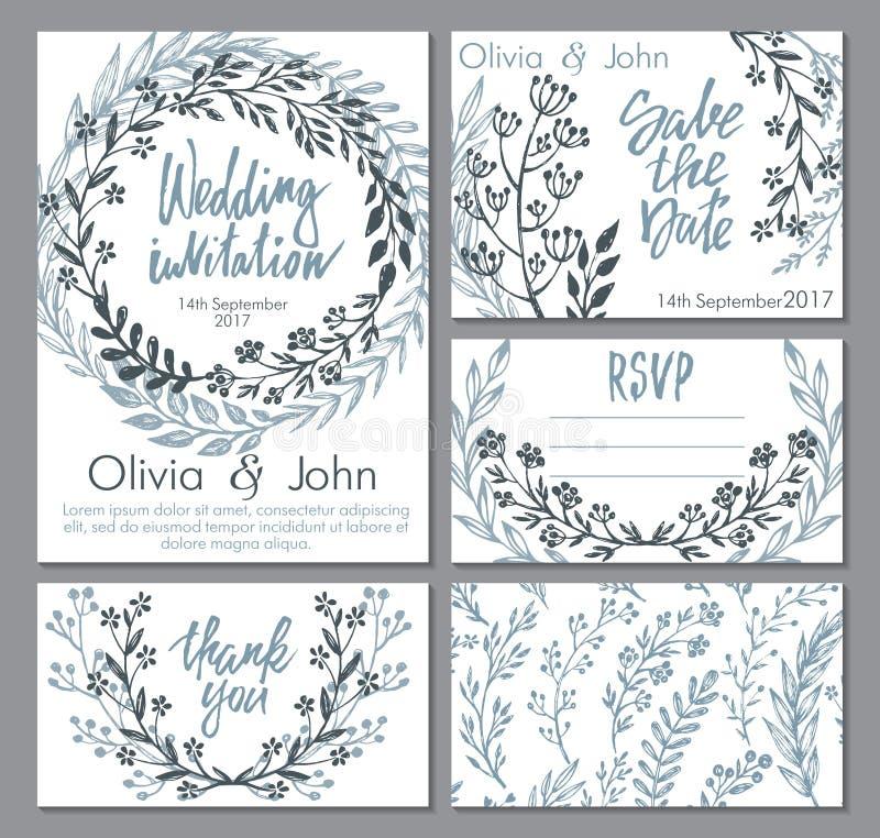 Собрание свадьбы вектора Шаблоны для приглашения, спасибо карточки, сохраняют дату, RSVP бесплатная иллюстрация