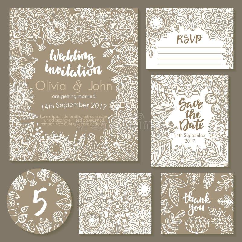 Собрание свадьбы вектора Шаблоны для приглашения, спасибо карточки, сохраняют дату, RSVP иллюстрация вектора