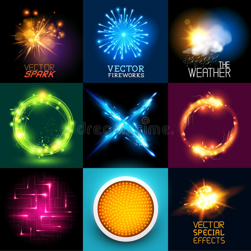 Собрание световых эффектов вектора бесплатная иллюстрация