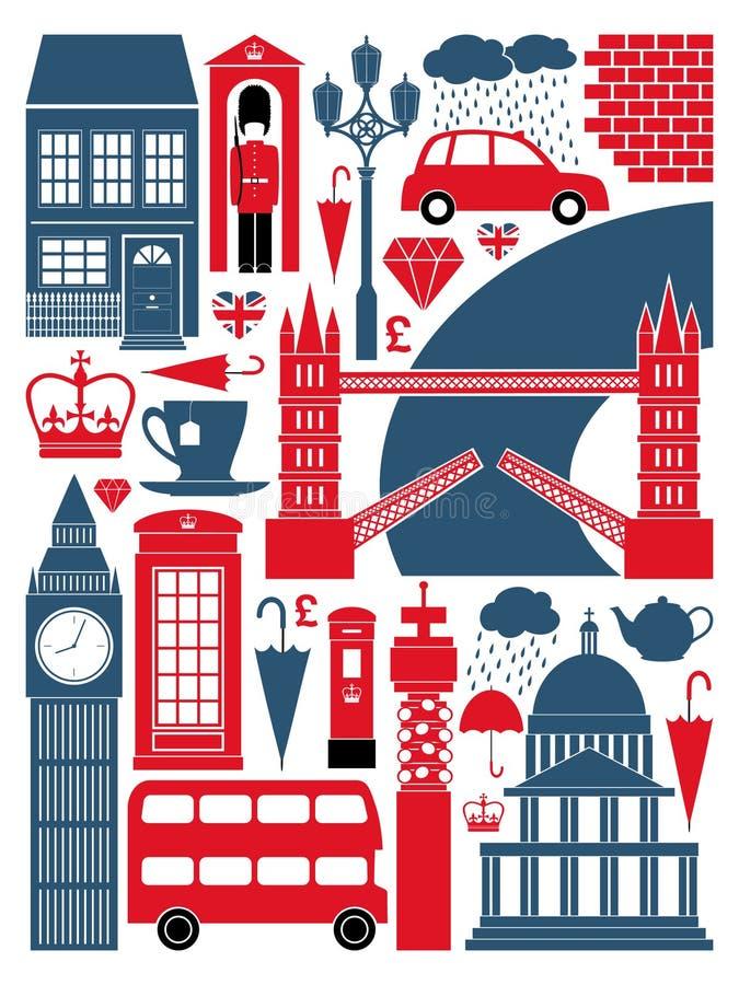 Собрание символов Лондон иллюстрация вектора