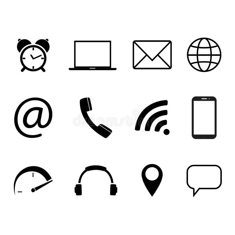 Собрание символов связи Контакт, электронная почта, мобильный телефон, сообщение, значки беспроводной технологии также вектор илл иллюстрация вектора