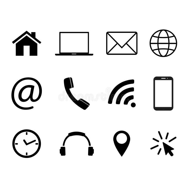 Собрание символов связи Контакт, электронная почта, мобильный телефон, сообщение, значки беспроводной технологии также вектор илл бесплатная иллюстрация