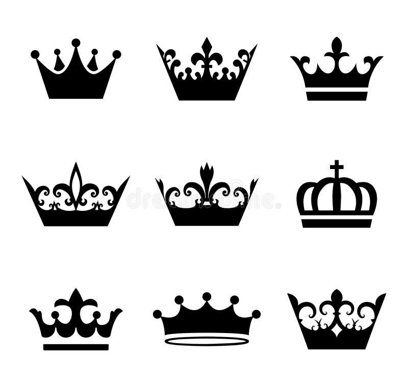 Собрание символов силуэта кроны, концепция победителя стоковое фото