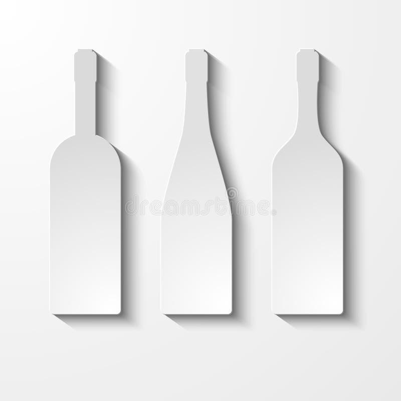 Собрание силуэта вектора бутылки Комплект  стоковые изображения