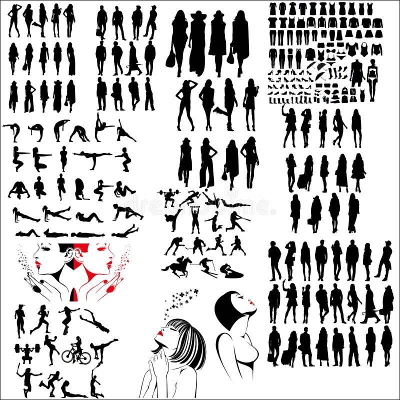 Собрание смешанных силуэтов бесплатная иллюстрация