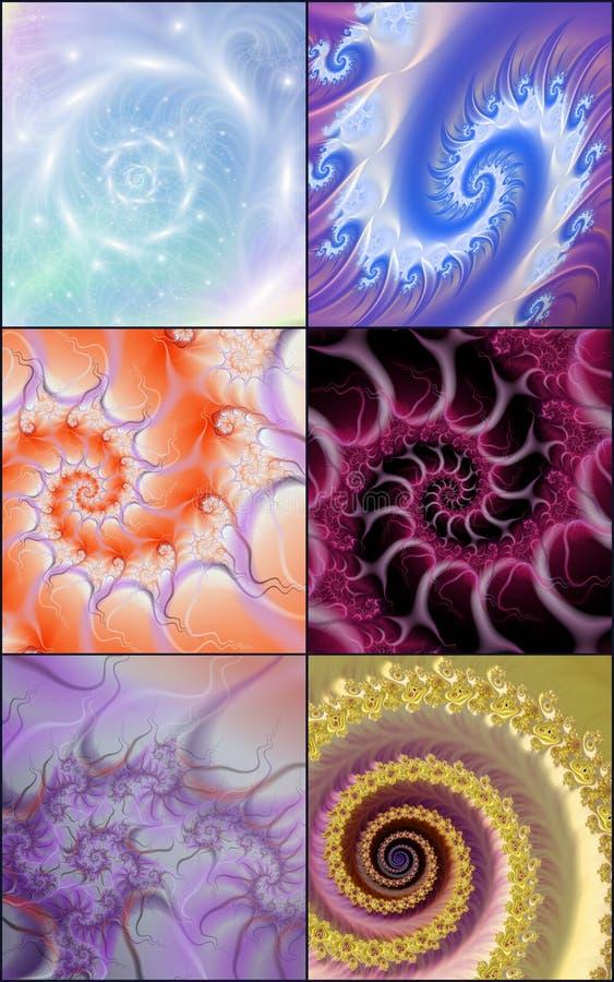 Собрание спиральных фракталей бесплатная иллюстрация
