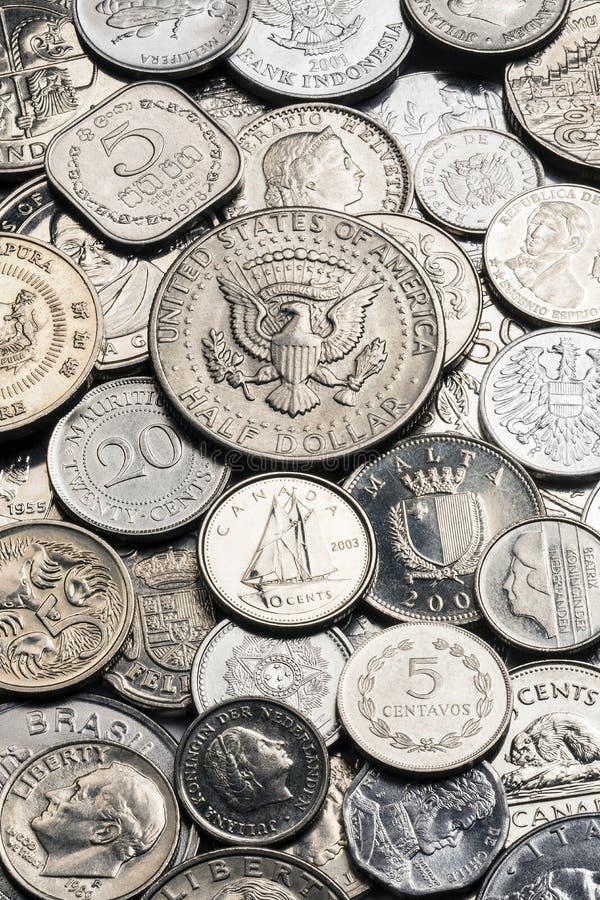 Собрание старых серебряных монет стоковое фото rf