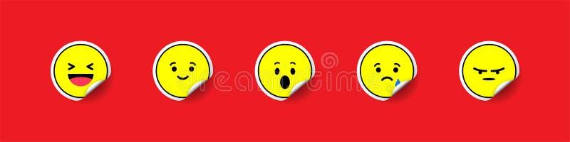 Собрание стикеров Emoji Желтые emojis обозначают на красной предпосылке Бирка Emoji с тенью Стикер ярлыка Бирка ярлыка иллюстрация штока