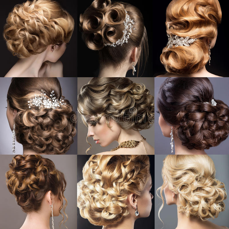 Собрание стилей причёсок свадьбы красивейшие девушки стоковые фото