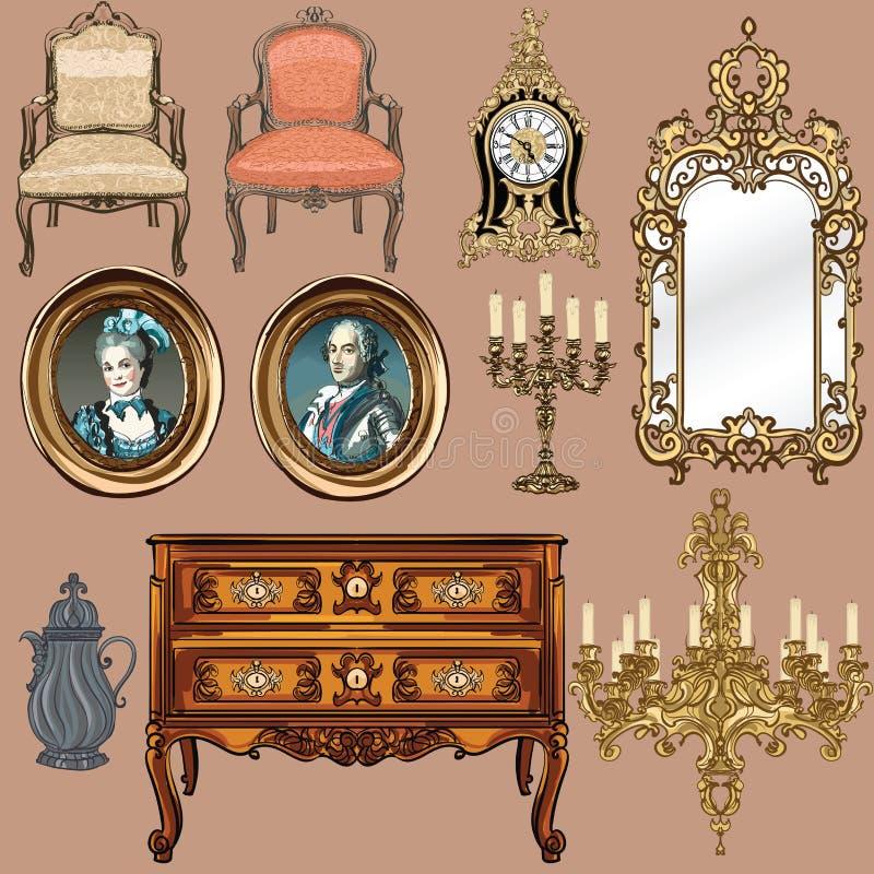 Собрание стиля Луис объектов XV бесплатная иллюстрация