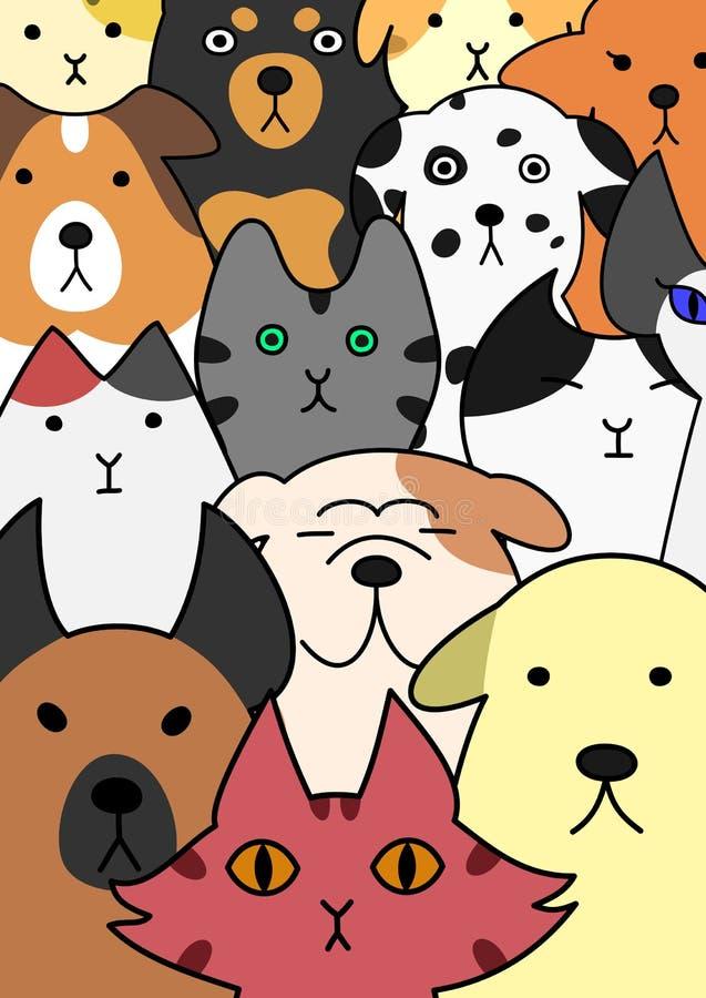 Собрание стороны котов и собак иллюстрация штока