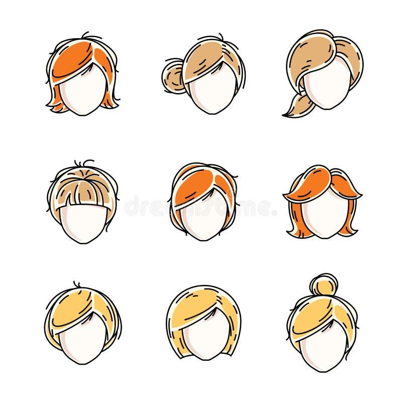 Собрание сторон женщин, человеческих голов Разнообразный характер вектора иллюстрация вектора