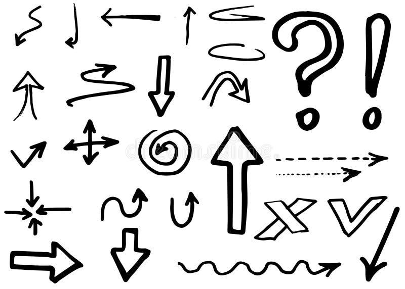 Собрание стрелок вектора Doodle изолировано Комплект нарисованный рукой иллюстрация штока