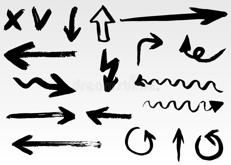 Собрание стрелок вектора Doodle изолировано Комплект нарисованный рукой бесплатная иллюстрация