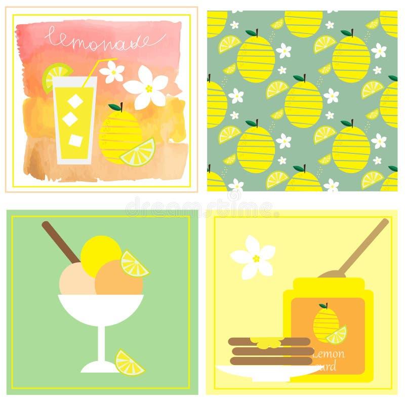 Собрание с 4 иллюстрациями с лимоном: творог лимона, лимонад, мороженое и безшовная картина с лимоном бесплатная иллюстрация
