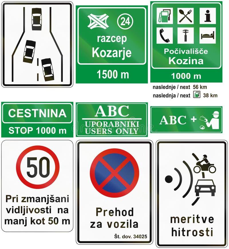 Собрание словенских предупреждающих дорожных знаков иллюстрация штока