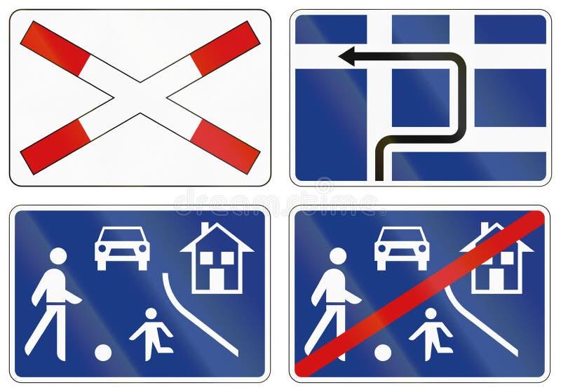 Собрание словенских предупреждающих дорожных знаков иллюстрация вектора