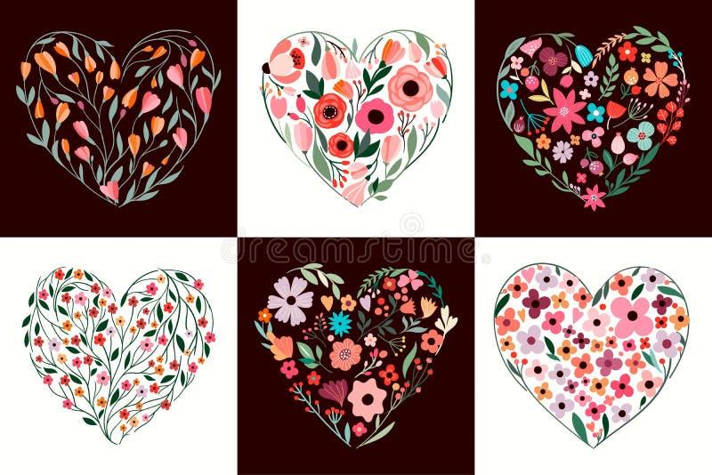 Собрание с различными флористическими сердцами, дизайн карт дня Валентайн вектора иллюстрация штока