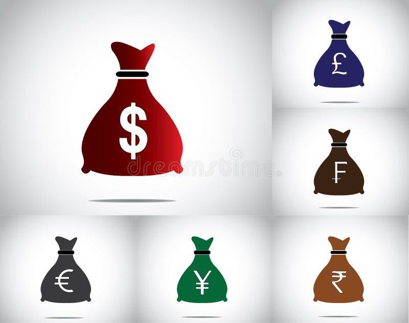 Собрание с различными валютами - американский доллар красочной сумки денег установленное, фунт великобританского sterling, франки, иллюстрация вектора