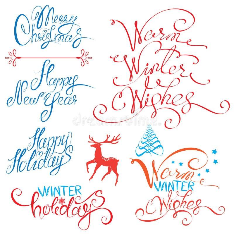 Собрание с Рождеством Христовым и счастливой каллиграфии Нового Года иллюстрация вектора