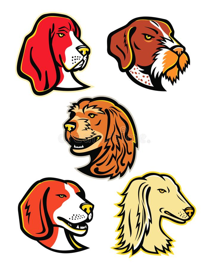 Собрание талисмана гончих собак иллюстрация вектора