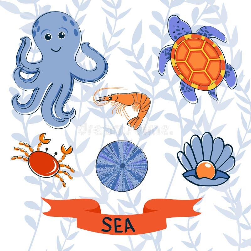 Собрание тварей моря красочное иллюстрация вектора