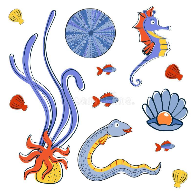 Собрание тварей моря красочное иллюстрация штока