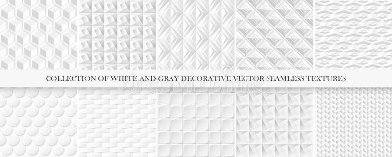 Собрание текстур белой и серой плитки безшовных декоративных Геометрические repeatable предпосылки Картины вектора 3d иллюстрация вектора