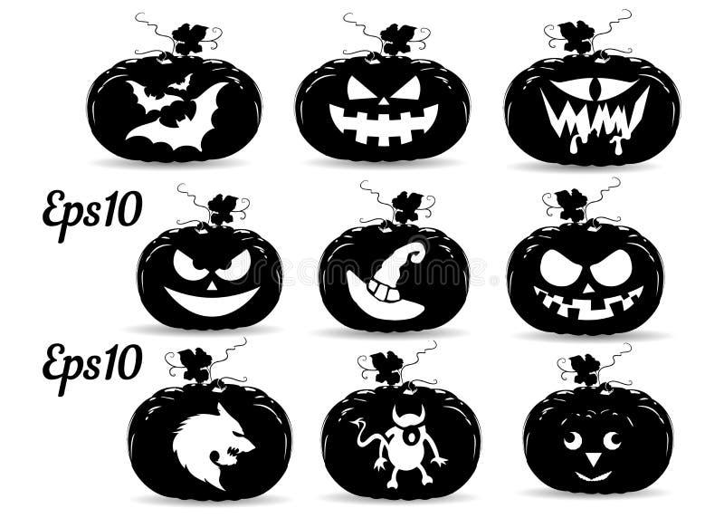 Собрание тыкв на праздник хеллоуина, силуэт иллюстрация штока
