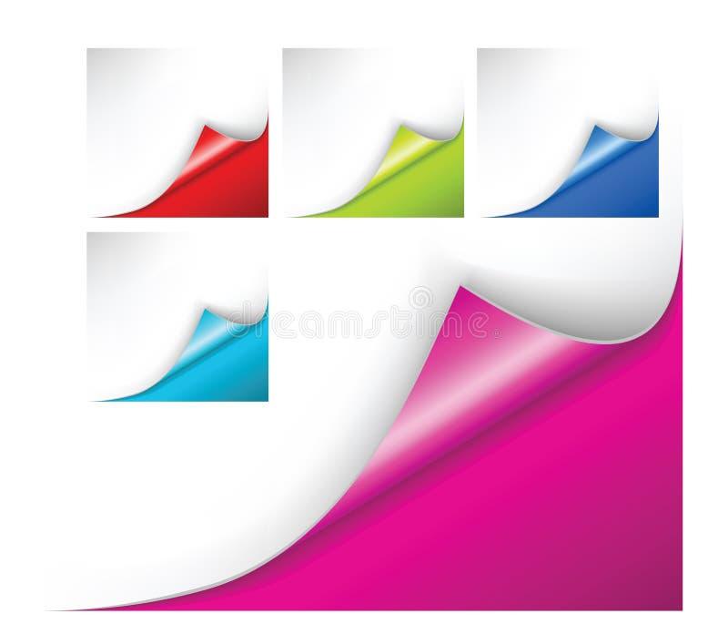 Собрание углов бумаги вектора Комплект красочных бумажных листов иллюстрация вектора
