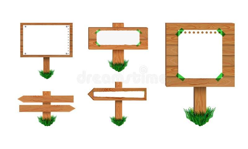 Собрание указателей вектора деревянное, изолированное на белом собрании предпосылки ретро знаков иллюстрация вектора