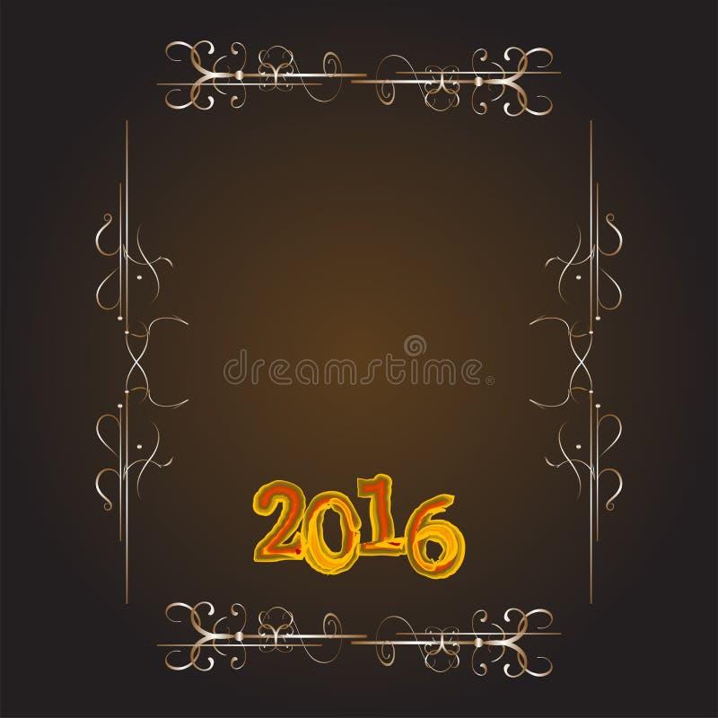 Собрание 2016 украшения рождества каллиграфические и типографские элементы, рамки, винтажный ярлык, лента, стикер иллюстрация вектора