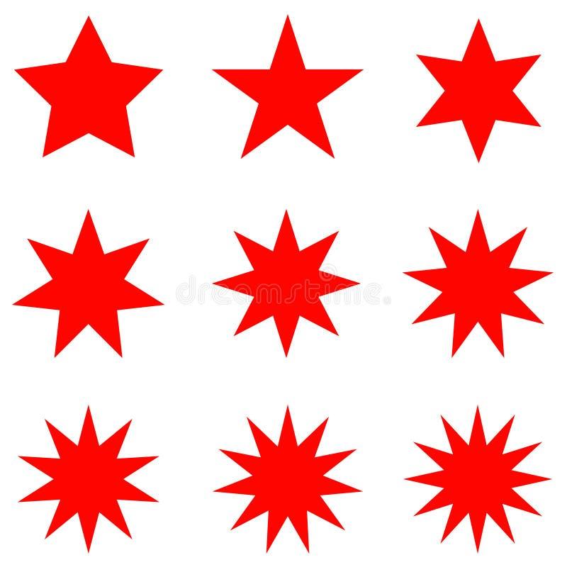 Собрание ультрамодных ретро форм звезд Комплект элементов дизайна Sunburst Разрывать искусство зажима лучей Sparkles красного цве бесплатная иллюстрация