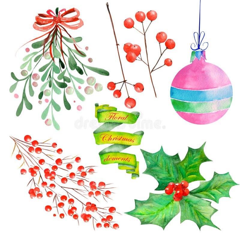 Собрание (установите) с элементами рождества акварели флористическими украшения иллюстрация вектора